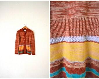 Vtg 70's Space Dye Knit Sweater