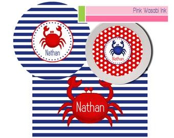 Personalized Plate Bowl Placemat Set, Kids Melamine Dishes, Coastal Dinnerware Set for Boys, Crab Dinnerware Set