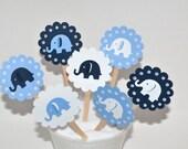 12 Elephant Cupcake Toppers / Elephant Baby Shower / Elephant Invitation / Elephant Cake Toppers / Elephant Diaper Cake