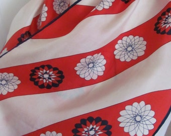"Lady Heritage // Red White Stripe Ladies Soft Silk Scarf 12"" x 44"" Long"