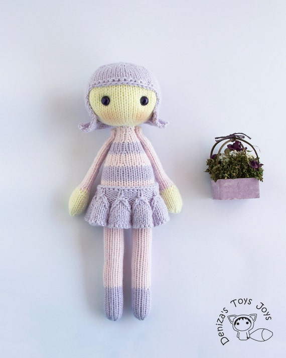 Knitting Toys In The Round : Wanda doll stripy series toy pdf knitting pattern
