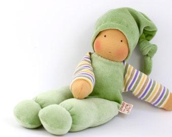 cuddle doll/pastel green, 13 inch, soft doll, waldorf doll, steiner doll,
