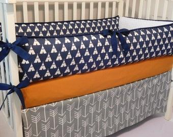 Tee Pee Navy/Grey Arrow/Orange Cotton 3pc-4pc Crib  Bedding Set.(Bumper,Skirt, Fitted Sheet)