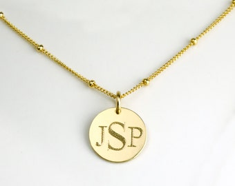 Personalized Monogram Necklace, Large Disc Necklace, Name Disc Necklace, Initial Necklace, Bridesmaid Necklace, Birthday Gift for women