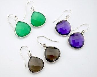 Gemstone earrings, Purple Amethyst Earrings, Green Onyx Earrings, smokey Dainty Earrings Silver Earrings, Dangle Earring, pear drop earrings