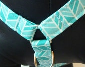 "Sale 50% Off Dog Harness - Traditional NO PULL Front D-Ring Harness - You Choose a Fabric from Collar Section ""Sea Glass"""