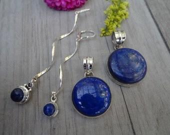 Lapis lazuli set. Sterling silver.