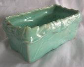 Aqua Blue Green Rectangular Planter | Signed McCOY | Vintage 1940s 1950s