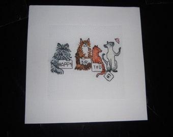 Cross stitch Card - Cat Birthday card
