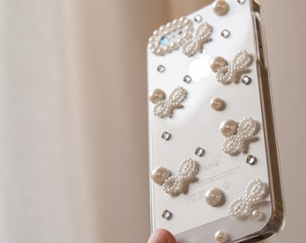 Dainty pearl and crystal iPhone 5 cover, handmade white iPhone 5s case