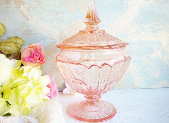 pink depression glass candy jar with lid mayfair open rose. Black Bedroom Furniture Sets. Home Design Ideas