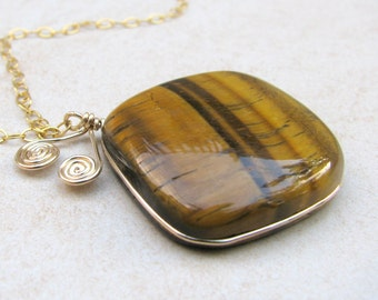 Rhombus Tigers eye necklace, gold wire wrapped necklace, tigers eye pendant, square gemstone tigers eye, gemstone necklace