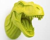 Mantis Green Dinosaur Wall Mount- The Mason - Green Resin T-Rex Wall Decor- Dinosaur Head Decor by White Faux Taxidermy- Chic bedroom Art