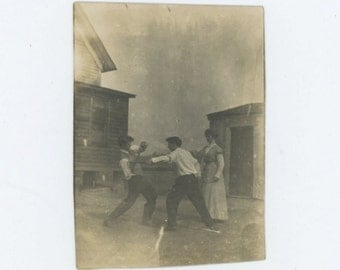 Fighting Over a Girl, Early 1900s Snapshot Photo [65455]