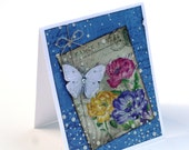Butterfly garden blank card, rose garden, vintage inspired collage card