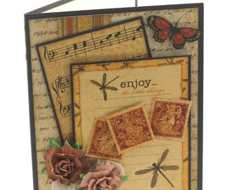 Dragonfly Collage card, vintage inspired, butterfly, cabbage roses, blank cards