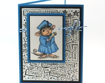Graduation card, Mouse graduate in cap and gown, congratulation blank card, college, school