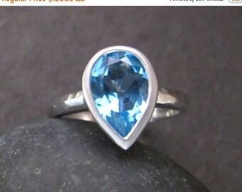 SALE Swiss Blue Topaz Ring- Blue Topaz Ring- Stone Ring- Silver Ring- December Birthstone Ring- Blue Stone Ring- Gemstone Ring- Ring