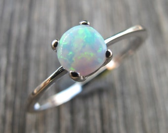 Round White Opal Ring- Stackable Opal Ring- October Birthstone Ring- Sterling Silver Opal Ring- 4 Prong Opal Ring- Simple Opal Promise Ring