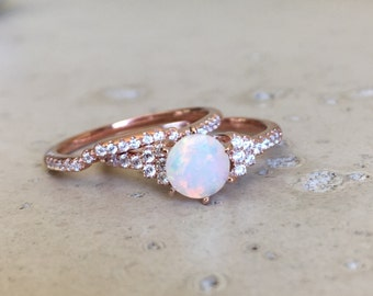 Opal Bridal Set Ring- Opal Engagement Wedding Ring- Opal Promise Ring Set- Rose Gold Opal Ring- October Birthstone Ring- Round Opal Ring