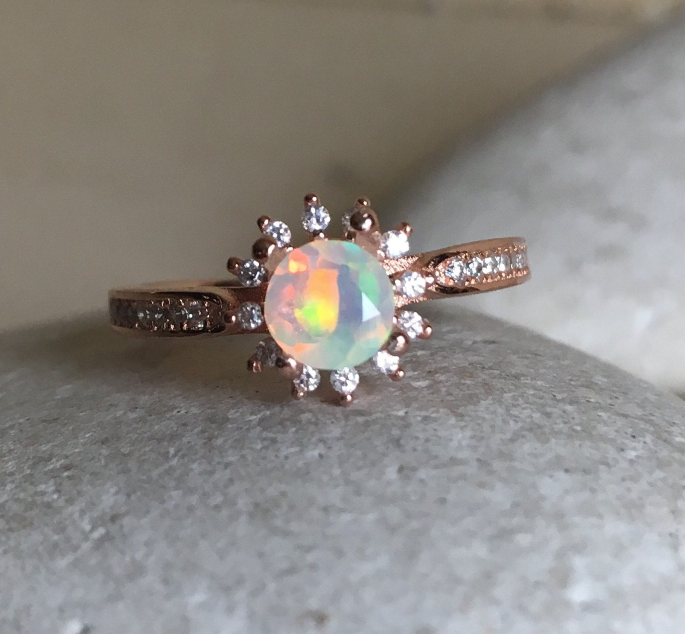 milgrain band cut gemstone opal color yellow ready in birthstone rings ship resizable wedding to october media gold ring cushion engagement