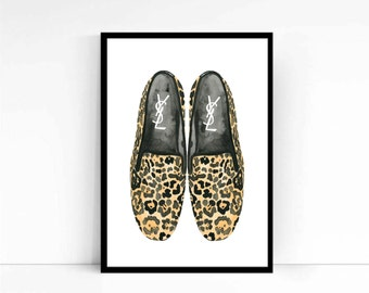 """Watercolor Fashion Illustration """"YSL Loafers"""" Giclee Art Print Home Decor Wall Art Shoes"""