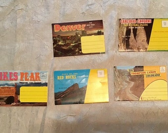 Vintage 1970s Post Card Packages (4) Sets of Colorado Locations & (1) Carlsbad Caverns New Mexico