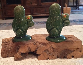 Vintage Cactus Salt & Pepper Shakes on Driftwood Made in Japan from San Diego, CA