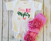 tiny but mighty bodysuit- embroidered ruffle bodysuit-M2M Sew Sassy pink- m2m Sew Sassy green
