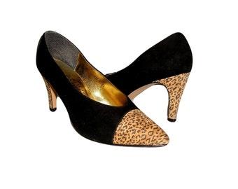 Vintage 80s AMANO Black Leopard Suede Heels Luxury Spectator Pumps