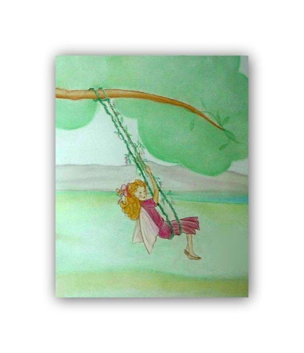 Fairy Swing Kids Wall Art Girls Room Decor Fairies By