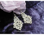 Wedding earrings, drop earrings, tatted lace jewelry, prom jewellery, statement accessories, bridal accessories