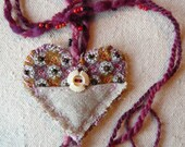 Vintage Fabric and Button Heart Necklace/Ornament