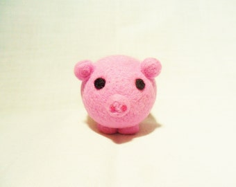 Needle Felted Pig -  miniature pig figure - 100% merino wool - Pig With Attitude - wool felt pig - pocket pig - felt pig