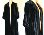 Vintage 1930s DECO, early 1940s Black Velvet Opera Coat / Collar / Mutton Sleeves / Leg of mutton, Party Coat Formal Coat