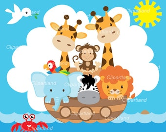 INSTANT DOWNLOAD. CA_9_Noah's Ark. Noah's Ark clip art. Personal and commercial use.
