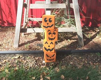 Pumpkin Wooden Blocks, Halloween Decor, Decorative Blocks
