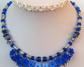 Blue Jewelry Blue Flowers Jewelry Pendant Earrings Set Blue Earrings Handmade Jewelry Blue Jewelry Flowers Jewelry
