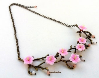 Pink Necklace, Sakura, Cherry Blossom, Flower Necklace, Romantic Jewelry, Handmade Necklace, Floral Jewelry, Gift For Her, MADE TO ORDER