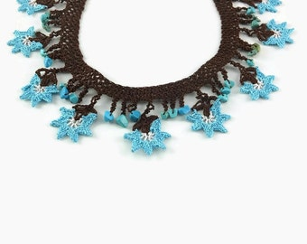 Crochet Necklace - Blue And Brown Flower Necklace - Beaded Choker - Statement Necklace - Dainty Crocheted Jewelry - Gift For Her