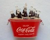 COCA- COLA Old Fashioned Miniature Bucket Tub with Coca- Cola BOTTLES ~ Coca- Cola Ornament