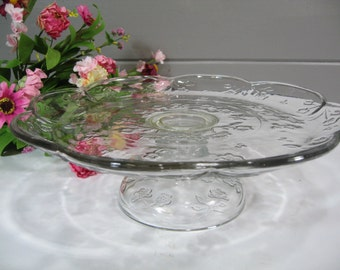 Pressed Glass Cake Stand, Wedding Cake Plate, Dessert Stand, Vintage Wedding Tablesetting