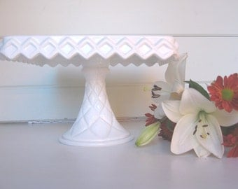 Milk Glass Cake Stand, Square Cake Stand, Cake Plate, Wedding Tablesetting