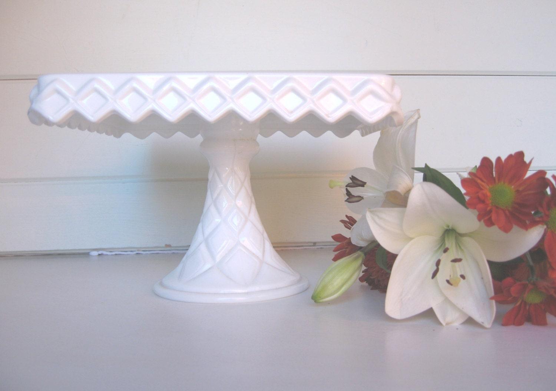 Milk Glass Cake Stand Square Cake Stand Cake Plate Wedding