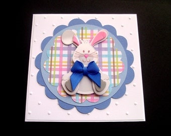 Blue Plaid Easter Bunny Card - Easter Cards - Bunny Card - Bunny Easter Card - Handmade Easter Card  - Easter Cards for Boys