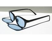 Blue Sunglasses, Vintage Nerd Glasses, Gift under 20, Deadstock 90s Grunge, Buddy Holly, Roy Orbison, Geek Glasses, Valentines Day Gift