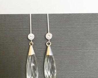 Silver Long dangling earrings, Long dangling earrings, bridesmaid earrings, gift for bridesmaid, Gift for maid of honor, wedding