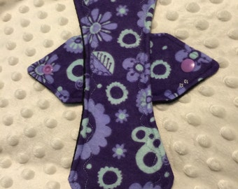 """9"""" moderate purple floral flannel cloth pad"""
