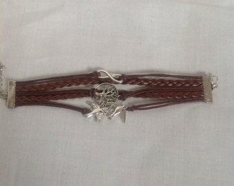 1pc Brown leather infinity friendship bracelet