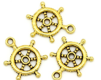 "10 Pieces Gold Tone Ship Wheel Charms 20mm(6/8"") x 15mm(5/8"")"